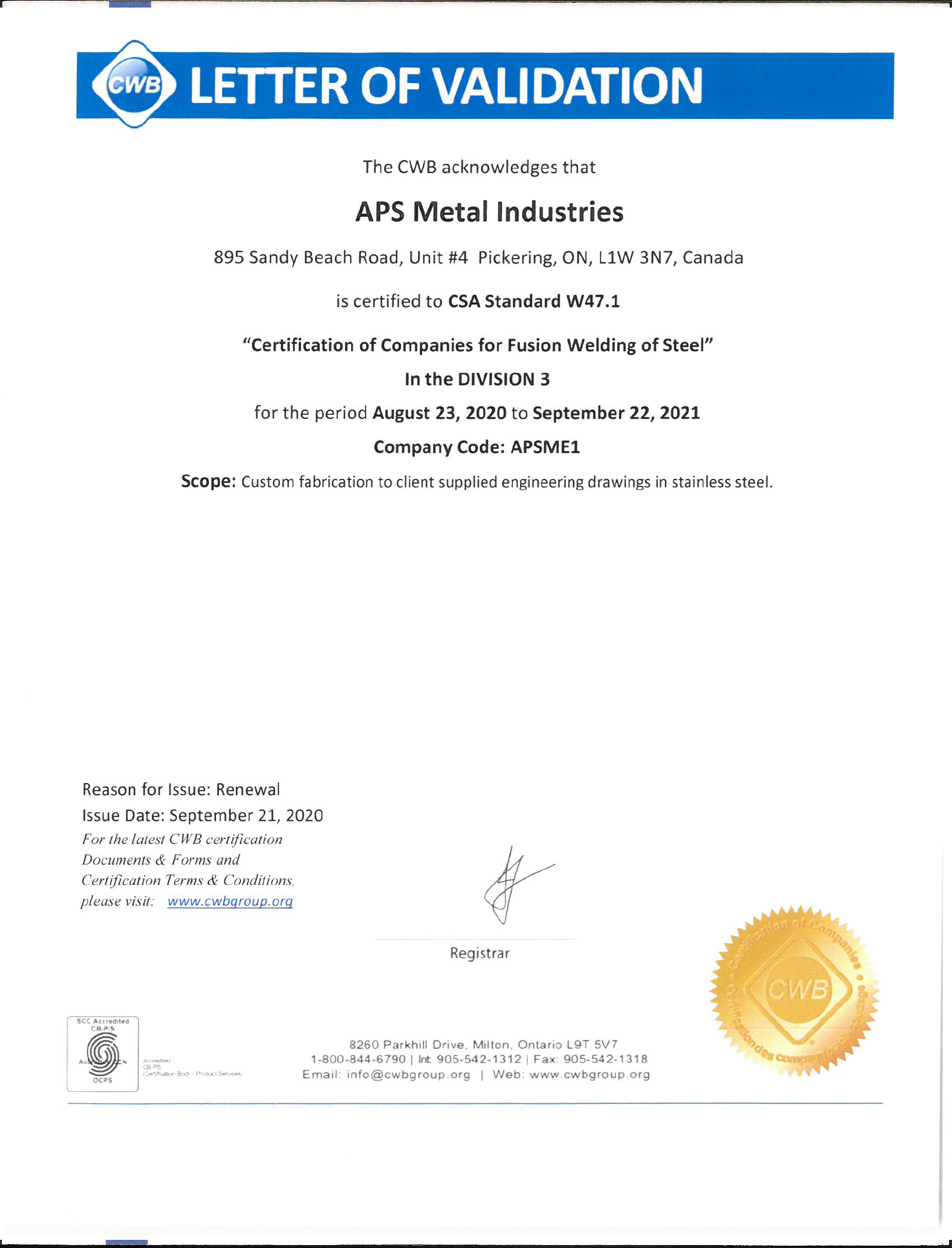 CWB STAINLESS certificate