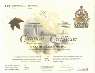 controlled goods certificate